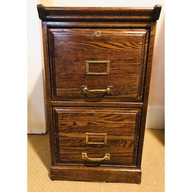 Oak Raised Side & Brass Detail 2-Drawer File Cabinet For Sale - Image 9 of 9