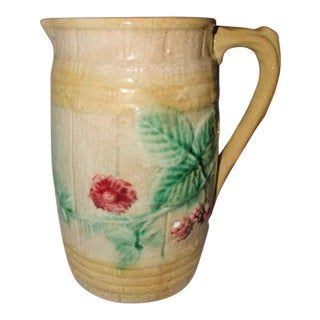 Majolica English Floral Pitcher