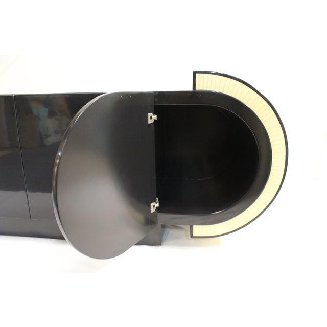 Pierre Cardin Style Black Modern Four-Door Buffet - Image 10 of 10