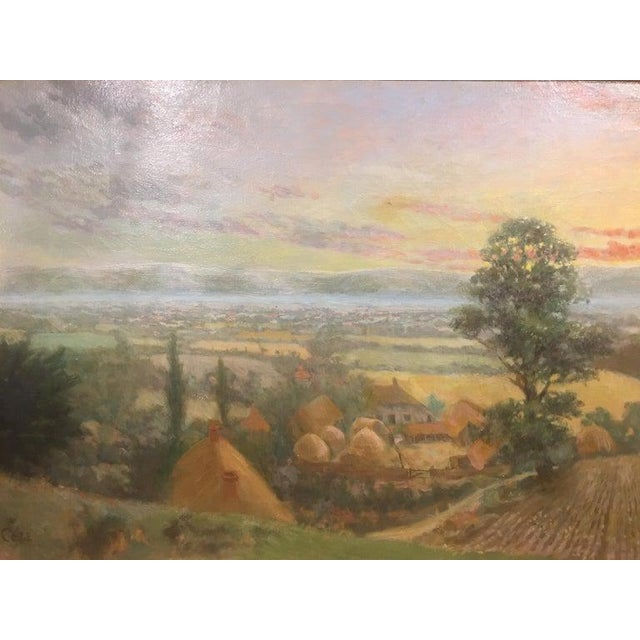 """British Oil on Canvas """"Valley of the Rothe"""" by F. M. de la Coze, 20th Century For Sale - Image 4 of 10"""