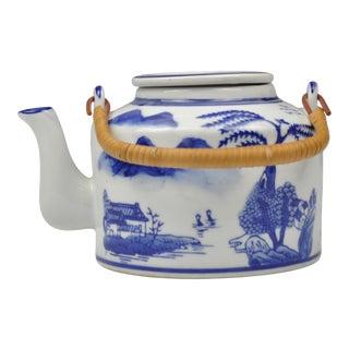 Vintage Chinoiserie Blue & White Porcelain Teapot For Sale