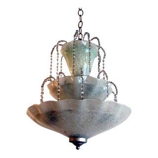 Beaded Murano Glass Chandelier in Waterfall Pattern