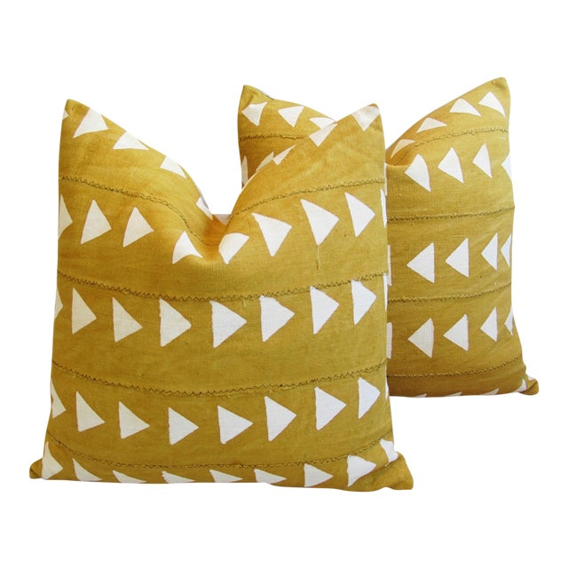 Boho Chic African Textile Pillows - A Pair - Image 1 of 10