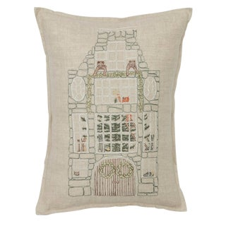 Contemporary Linen Stone Townhouse Pillow For Sale