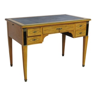 French Empire Style Black Leather Top Desk For Sale