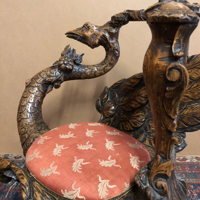 19th Century Venetian Hand Carved Swan Grotto Chair For Sale - Image 4 of 13