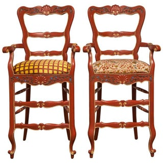 Carved French Country Red Bar Stools - A Pair