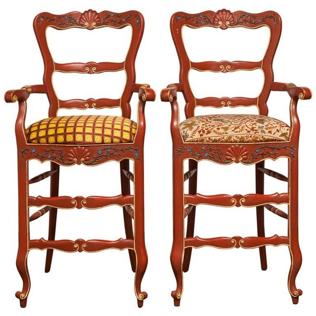 Carved French Country Red Bar Stools - A Pair - Image 1 of 10