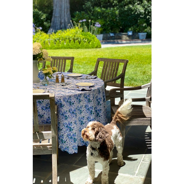 2020s Blue Floral Scalloped Rectangle Tablecloth For Sale - Image 5 of 6