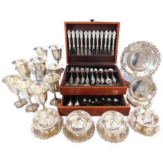 Grande Baroque Wallace Sterling Silver Flatware 103 Pc Set and Hollowware Plates For Sale