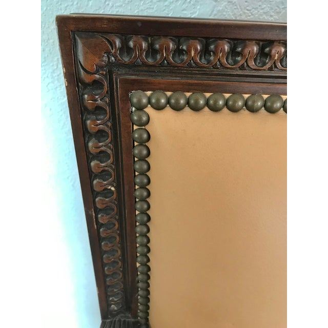 French Vintage French Louis XVI Style Leather/Nailhead Chair- a Pair For Sale - Image 3 of 9