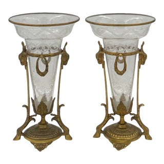 Late 19th Century Napoleon III Style Crystal and Bronze Vases - a Pair For Sale