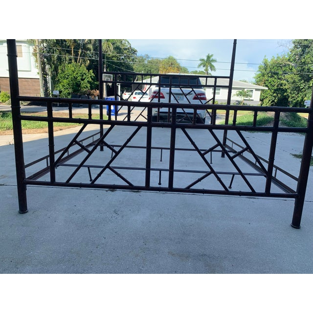 Brown Vintage Chinese Chippendale Faux Bamboo Metal King Bed Frame For Sale - Image 8 of 10