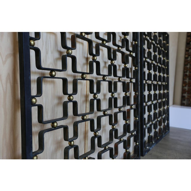 Iron & Brass Architectural Screens - a Pair For Sale In Los Angeles - Image 6 of 7