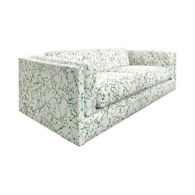 1970s 1970s Harvey Probber Sofa in Green Splatter Upholstery For Sale - Image 5 of 5