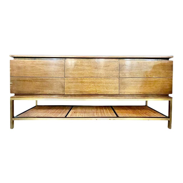 Mid-Century Modern McCobb Cabinet With Glass Top Brass Frame and Caning For Sale