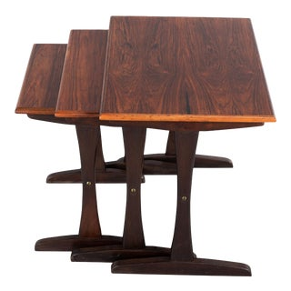 Midcentury Danish Mahogany Nesting Tables by Kai Kristiansen, 1960s - Set of 3 For Sale