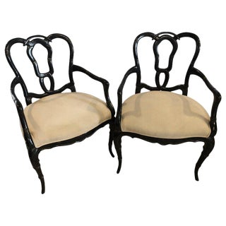 Pair of Hollywood Regency Style Lacquer Bamboo Form Armchairs in Ebony Finish For Sale
