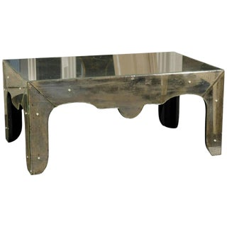 Venetian Style Mirrored Coffee Table With Scalloped Apron and Elegant Lines For Sale