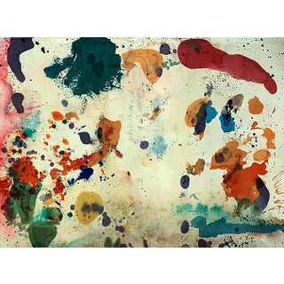 Taro Yamamoto Abstract Composition in Blue, Red, Orange and Pink Painting For Sale