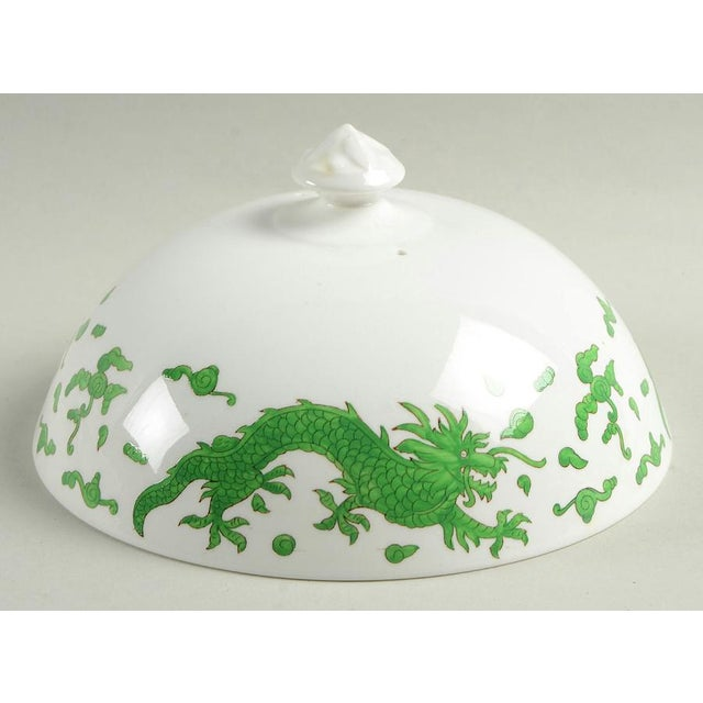 1960s 1960s Hammersley Green Dragon Round Covered Butter Dish For Sale - Image 5 of 9