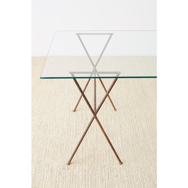 Metal Midcentury Glass Table With Iron X Form Sawhorse Legs For Sale - Image 7 of 13