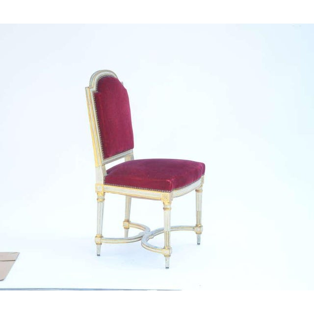 Maison Jansen Set of 5 Chic Crimson Velvet Chairs in the Style of Maison Jansen For Sale - Image 4 of 12