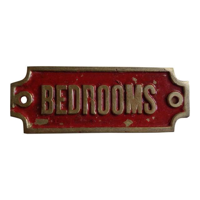 """Mid-Century """"Bedrooms' Hotel Door Sign For Sale"""