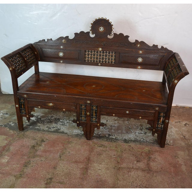 1940's Syrian bench with mother-of-pearl inlay.