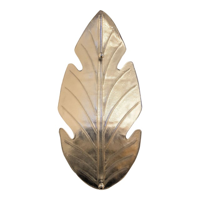 Extra Large Pair of Mid Century Modern leaf shaped, silver Murano glass sconces. Attributed to E. Barovier, Italy. Circa...