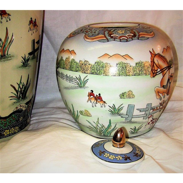 Early 20c Chinese Hunt Scene Floor Vase and Lidded Urns For Sale - Image 9 of 13