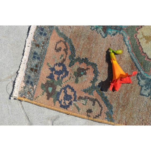 """Low Pile Small Oushak Rug Yastik - 16"""" X 34"""" For Sale - Image 4 of 6"""
