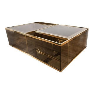 Rectangular Brass and Smoked Glass Coffee Table For Sale