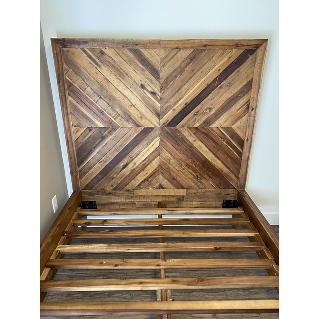 Mid-Century Modern West Elm Full Alexa Reclaimed Wood Bedframe For Sale - Image 3 of 5