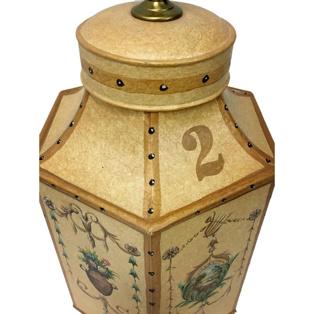 Asian Vintage Chinese Export English Tea Caddy Lamps For Sale - Image 3 of 13