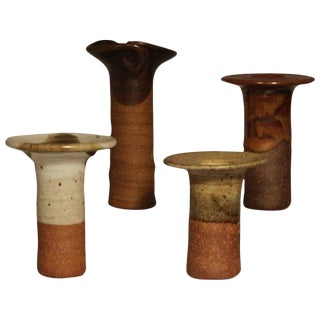 1960s Vintage Byron Temple American Studio Pottery Candle Holders - Set of 4 For Sale