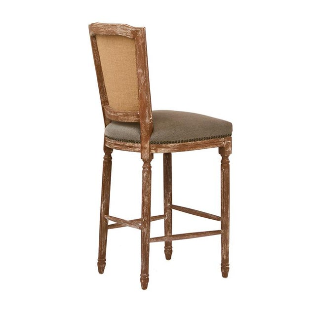 Neoclassical Hardwood & Linen Bar Stool - Image 2 of 2