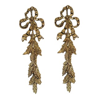 1960s French Provincial Brass Bow Wall Accents - a Pair For Sale