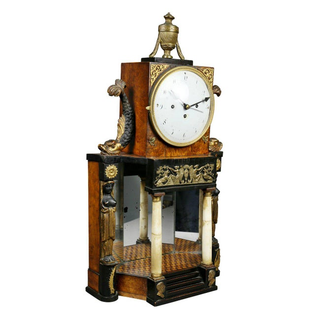 Biedermeier Fruitwood and Ebonized Mantle Clock For Sale - Image 10 of 10