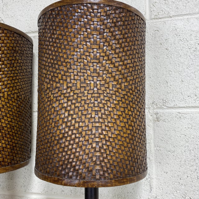 Theodore Alexander Leather Woven Buffet Lamps - a Pair For Sale - Image 9 of 13