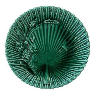 Villeroy Boch Green Majolica Wheat & Butterfly Plate For Sale