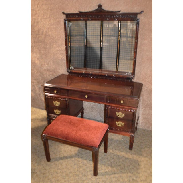 1950s Vintage Asian Inspired Mahogany Vanity Desk & Bench - 2 Pieces For Sale - Image 11 of 13