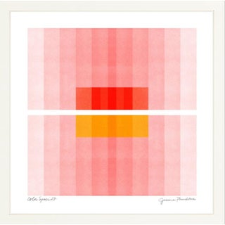 """Color Space Series 27: Pink, Red, Yellow"" Abstract Print by Jessica Poundstone, 30""x30"" - With White Frame For Sale"