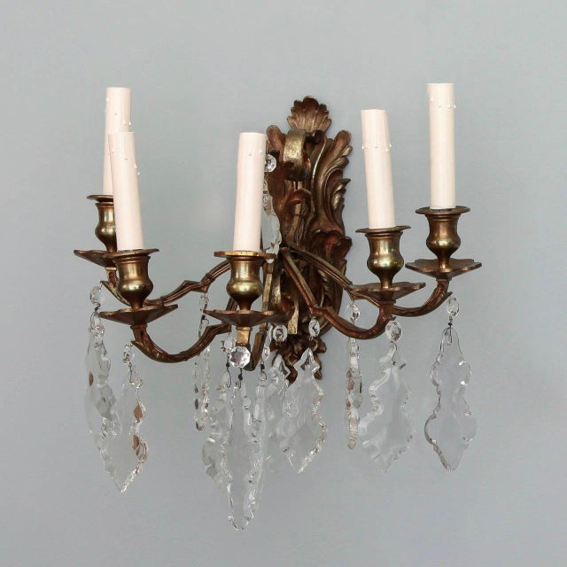 Pair of French 5 Light Bronze and Crystal Wall Sconces For Sale - Image 9 of 11