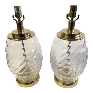 Glass Restoration Hardware Table Lamps - a Pair For Sale