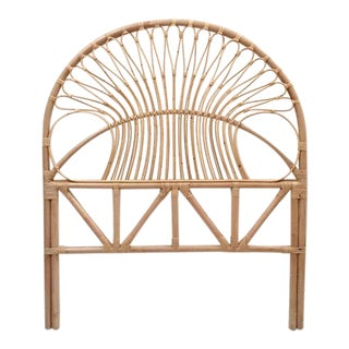 Vintage Bent Bamboo Sculpted Rattan Fan Back Twin Size Headboard For Sale