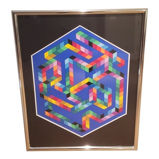"""Victor Vasarely Limited Edition Geometric Art Screen Print, """"Babel-3"""" For Sale"""