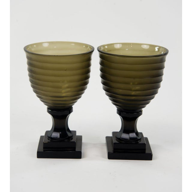 Glass Art Deco Style Glass Water Goblets - A Pair For Sale - Image 7 of 7