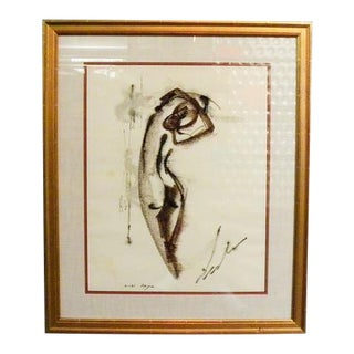 Vintage Mid Century Signed Nude Charcoal & Pastel For Sale