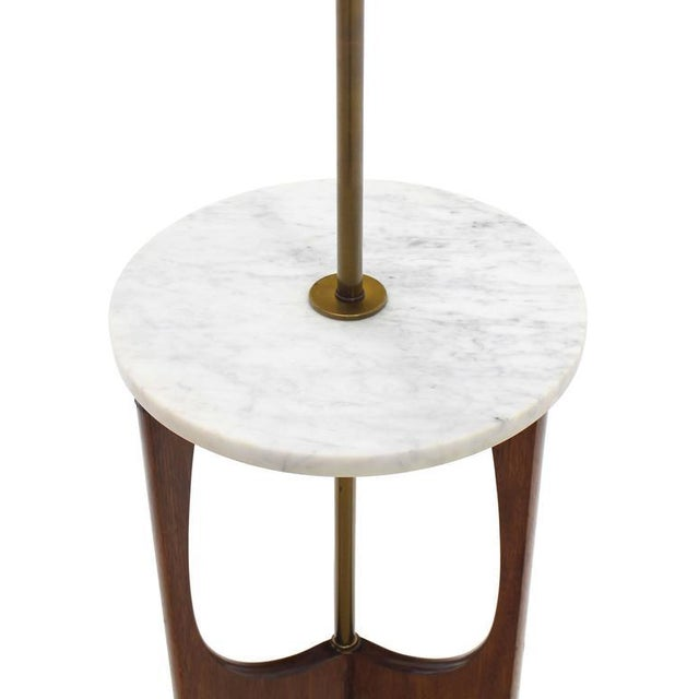 Very nice brass marble and walnut combination end side table floor lamp.
